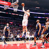 25 March 2016: LA Clippers forward Blake Griffin (32) goes for the dunk past Utah Jazz center Boris Diaw (33) during the Los Angeles Clippers 108-95 victory over the Utah Jazz, at the Staples Center, Los Angeles, California, USA.