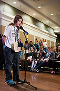Ryan Woods spells his word during the Southeast Ohio Regional Spelling Bee Saturday, March 16, 2013. The Regional Spelling Bee was sponsored by Ohio University's Scripps College of Communication and held in Margaret M. Walter Hall on OU's main campus.