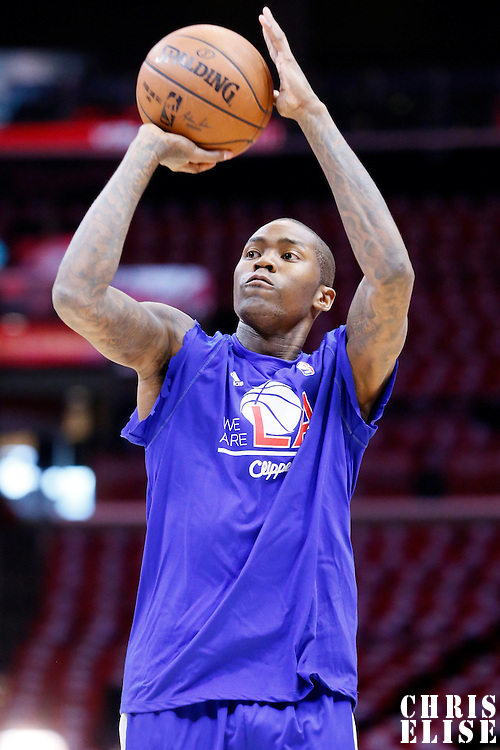 19 April 2014: Los Angeles Clippers guard Jamal Crawford (11) warms up prior to the Los Angeles Clippers 107-92 victory over the San Antonio Spurs, during Game One of the Western Conference Quarterfinals of the NBA Playoffs, at the Staples Center, Los Angeles, California, USA.