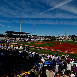 Mar 13, 2013; Bradenton, FL, USA; A general view during the national anthem before a spring training game between the Pittsburgh Pirates and the Toronto Blue Jays at McKechnie Field. Mandatory Credit: Derick E. Hingle-USA TODAY Sports