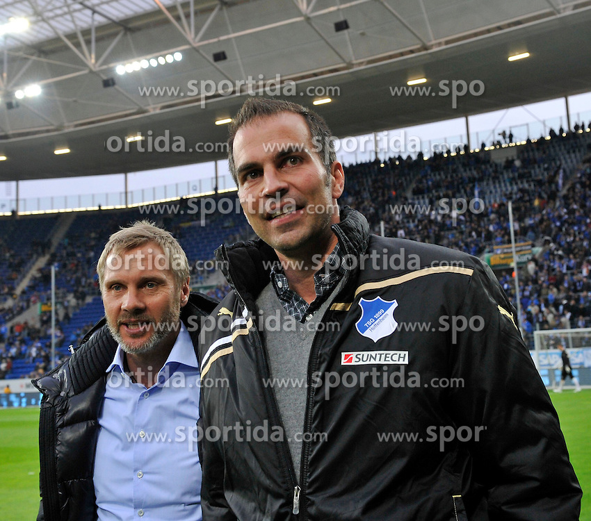 11.04.2012, Wirsol Rhein-Neckar-Arena, Sinsheim, GER, 1. FBL, TSG 1899 Hoffenheim vs Hamburger SV, 30. Spieltag, im Bild Trainer Thorsten FINK HSV (links) mit Trainer Markus BABBEL TSG 1899 Hoffenheim (rechts) // during the German Bundesliga Match, 30th Round between TSG 1899 Hoffenheim and Hamburger SV at the Wirsol Rhein Neckar Arena, Sinsheim, Germany on 2012/04/11. EXPA Pictures © 2012, PhotoCredit: EXPA/ Eibner/ Weber..***** ATTENTION - OUT OF GER *****