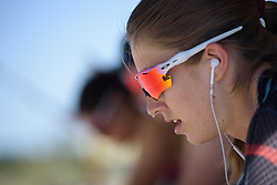 Alexis Ryan warms up for Stage 5 of the Giro Rosa - a 12.7 km individual time trial, starting and finishing in Sant'Elpido A Mare on July 4, 2017, in Fermo, Italy. (Photo by Sean Robinson/Velofocus.com)