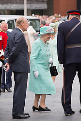 CARDIFF- UK - 7th June-2016: HM Queen Elizabeth II accompanied by HRH The Duke of Edinburgh , HRH The Prince of Wales and HRH The Duchess of Cornwall visit the Welsh Assembly in Cardiff, Wales.<br /> Photo by Ian Jones