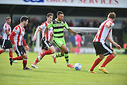 Forest Green Rovers Midfielder, Keanu Marsh-Brown (7) takes on the Lincoln defence during the Vanarama National League match between Forest Green Rovers and Lincoln City at the New Lawn, Forest Green, United Kingdom on 19 November 2016. Photo by Adam Rivers.