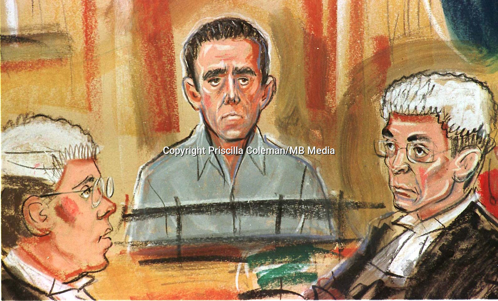 © PRISCILLA COLEMAN. ..ARTISTS DRAWING OF RYAN JAMES IN THE DOCK DURING HIS APPEAL AGAINST A MURDER CONVICTION. HE WAS LATER CLEARED. PICTURE CURTESY OF ITN.