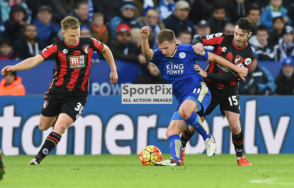 Marc Albrighton fights for possession with Adam Smith (c) Simon Kimber | SportPix.org.uk