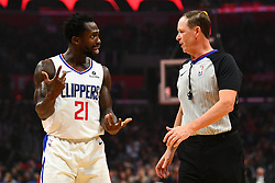 January 28, 2019 - Los Angeles, CA, U.S. - LOS ANGELES, CA - JANUARY 28: Los Angeles Clippers Guard Patrick Beverley (21) argues a call with an official during a NBA game between the Atlanta Hawks and the Los Angeles Clippers on January 28, 2019 at STAPLES Center in Los Angeles, CA. (Photo by Brian Rothmuller/Icon Sportswire) (Credit Image: © Brian Rothmuller/Icon SMI via ZUMA Press)