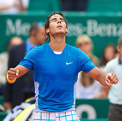MONTE-CARLO, MONACO - Saturday, April 17, 2010: Rafael Nadal (ESP) celebrates after his 6-2, 6-3 victory during the Men's Singles Semi-Final on day six of the ATP Masters Series Monte-Carlo at the Monte-Carlo Country Club. (Photo by David Rawcliffe/Propaganda)