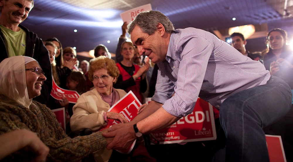 Liberal leader Michael Ignatieff greets supporters a campaign rally at Bingemans Park in Kitchener, Ontario Friday April 29, 2011.<br /> REUTERS/Geoff Robins (CANADA)