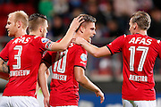ALKMAAR - 26-09-2015, AZ - Heracles Almelo, AFAS Stadion, 3-1, AZ speler Markus Henriksen (m) heeft de 1-0 gescoord, AZ speler Jeffrey Gouweleeuw (l), AZ speler Ben Rienstra.