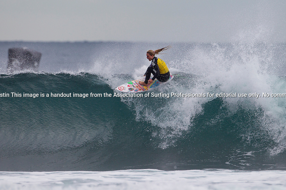 Nikki Van Dijk of Phillip Island, Victoria (pictured) placed equal 9th at the Rip Curl Pro Bells Beach on Tuesday April 22, 2014. Van Dijk reached Round 4 where she was eliminated by reigning ASP World Champion Carissa Moore (HAW).