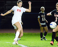 Neshaminy's Alyssa Tobin #20 takes a shot as Pennsbury's Abby Wick #3 defends in the first half Thursday October 15, 2015 at Neshaminy High School in Langhorne, Pennsylvania.  (Photo by William Thomas Cain)