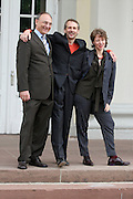 documenta12. Official photo op of documenta staff and artists at Fridericianum..Bernd Leifeld, documenta Executive Director (l.), Artistic Director Roger M. Buergel. Curator Ruth Noack.