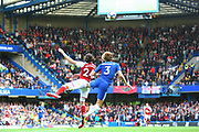 Chelsea's Marcos Alonso and Arsenal Defender Héctor Bellerín during the Premier League match between Chelsea and Arsenal at Stamford Bridge, London, England on 17 September 2017. Photo by John Potts.