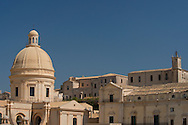The recently rebuilt cupola on the Baroque Duomo which collapsed in 1996. Noto,  Province of Syracuse, Sicily, Italy