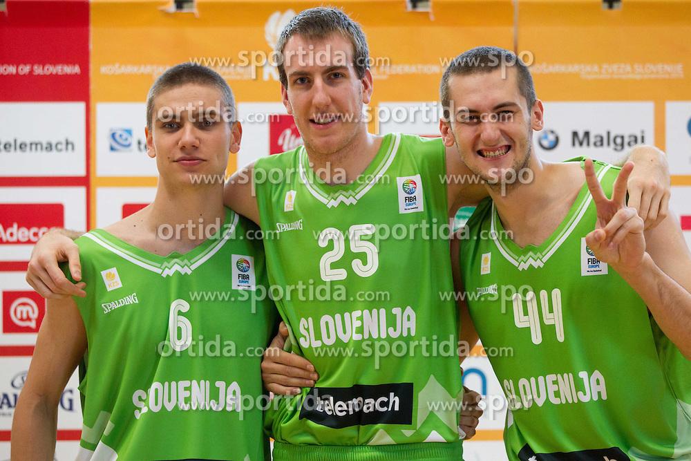 Jaka Brodnik, Urban Gorjanc and Bojan Radulovic during Open day of Slovenian U20 National basketball team before the European Chmpionship in Slovenia, on July 9, 2012 in Domzale, Slovenia.  (Photo by Vid Ponikvar / Sportida.com)