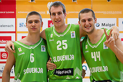 Jaka Brodnik, Urban Gorjanc and Bojan Radulovic during Open day of Slovenian U20 National basketball team before the European Chmpionship in Slovenia, on July 9, 2012 in Domzale, Slovenia.  (Photo by Vid Ponikvar / Sportida.com)