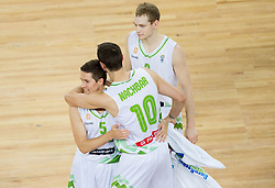 Jaka Lakovic of Slovenia, Bostjan Nachbar of Slovenia and Jaka Blazic of Slovenia celebrate after the basketball match between National teams of Slovenia and Ukraine in 5th Place game at Day 18 of Eurobasket 2013 on September 21, 2013 in Arena Stozice, Ljubljana, Slovenia. (Photo by Vid Ponikvar / Sportida)