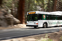 National Park service hybrid bus in Yosemite National Park, CA.