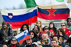 Fans under Socialistic flag of Slovenia from times of Yugoslavia during the Ski Flying Individual Qualification at Day 1 of FIS World Cup Ski Jumping Final, on March 19, 2015 in Planica, Slovenia. Photo by Vid Ponikvar / Sportida
