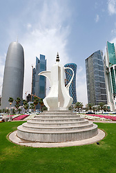 Tea pot monument on The Corniche in Doha Qatar