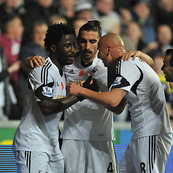 Swansea City's Wilfried Bony celebrates with Swansea City's Jonjo Shelvey after scoring to make it 3-2 - Photo mandatory by-line: Alex James/JMP - Tel: Mobile: 07966 386802 10/11/2013 - SPORT - FOOTBALL - Liberty Stadium - Swansea - Swansea City v Stoke City - Barclays Premier League