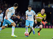 Ayoze Perez brings the ball away from Ben Watson during the The FA Cup Third Round match between Watford and Newcastle United at Vicarage Road, Watford, England on 9 January 2016. Photo by Dave Peters.