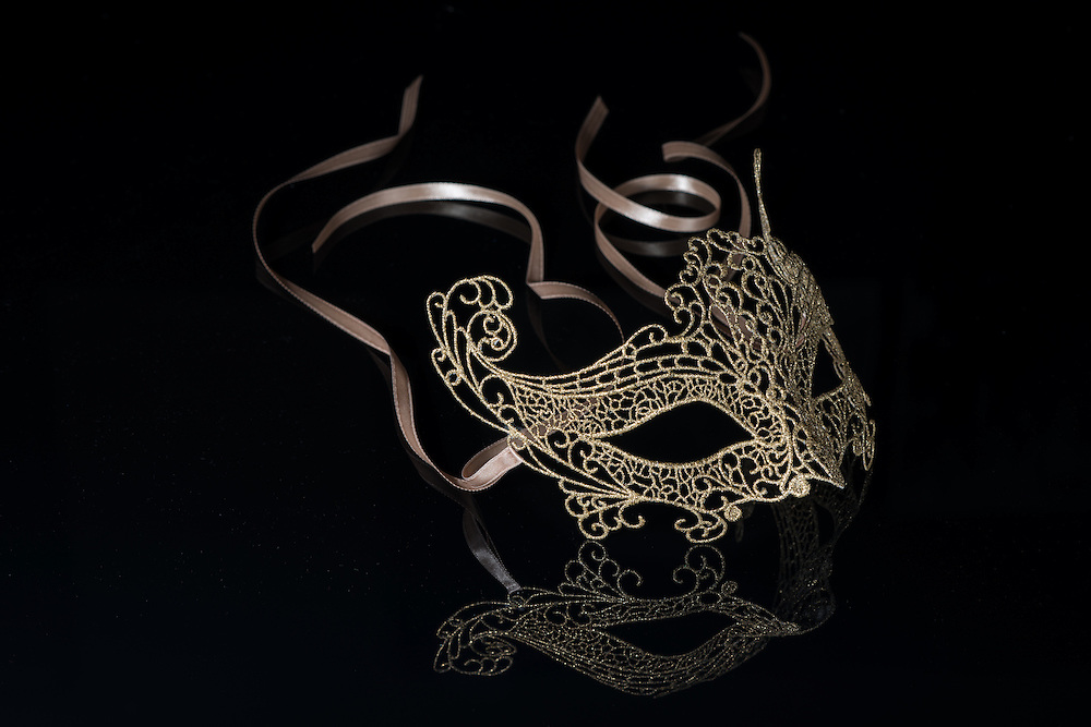 A handmade, gold threaded mask from Florence, Italy.