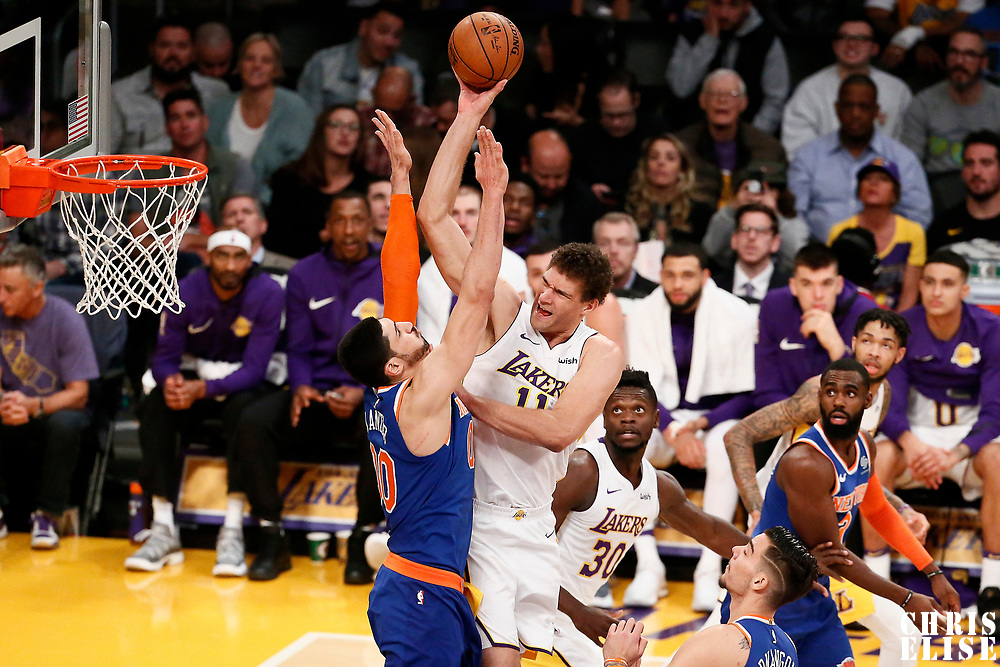 21 January 2018: Los Angeles Lakers center Brook Lopez (11) goes for the jump shot over New York Knicks center Enes Kanter (00) during the LA Lakers 127-107 victory over the New York Knicks, at the Staples Center, Los Angeles, California, USA.