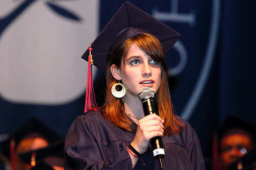 Katherine Wood performs a song she wrote during the Miami Valley School 39th annual commencement at the Victoria Theatre in downtown Dayton, June 7, 2012.