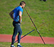 CAPE TOWN, SOUTH AFRICA - JUNE 08: Rocco van Rooyen was away after launching the javelin in an attempt to qualify for the  Rio Olympic Games during a hastily convened competition at the Parow Athletics stadium on June 09, 2016 in Cape Town, South Africa (Photo by Roger Sedres/Gallo Images)