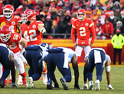 Jan 19, 2020; Kansas City, Missouri, USA;  Kansas City Chiefs punter Dustin Colquitt (2) prepares to punt the ball during the AFC Championship Game against the Tennessee Titans at Arrowhead Stadium. Mandatory Credit: Denny Medley-USA TODAY Sports