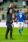 Leicester City manager Brendan Rodgers salutes the Leicester fans after Leicester win the penalty shoot-out of the EFL Cup match between Newcastle United and Leicester City at St. James's Park, Newcastle, England on 28 August 2019.