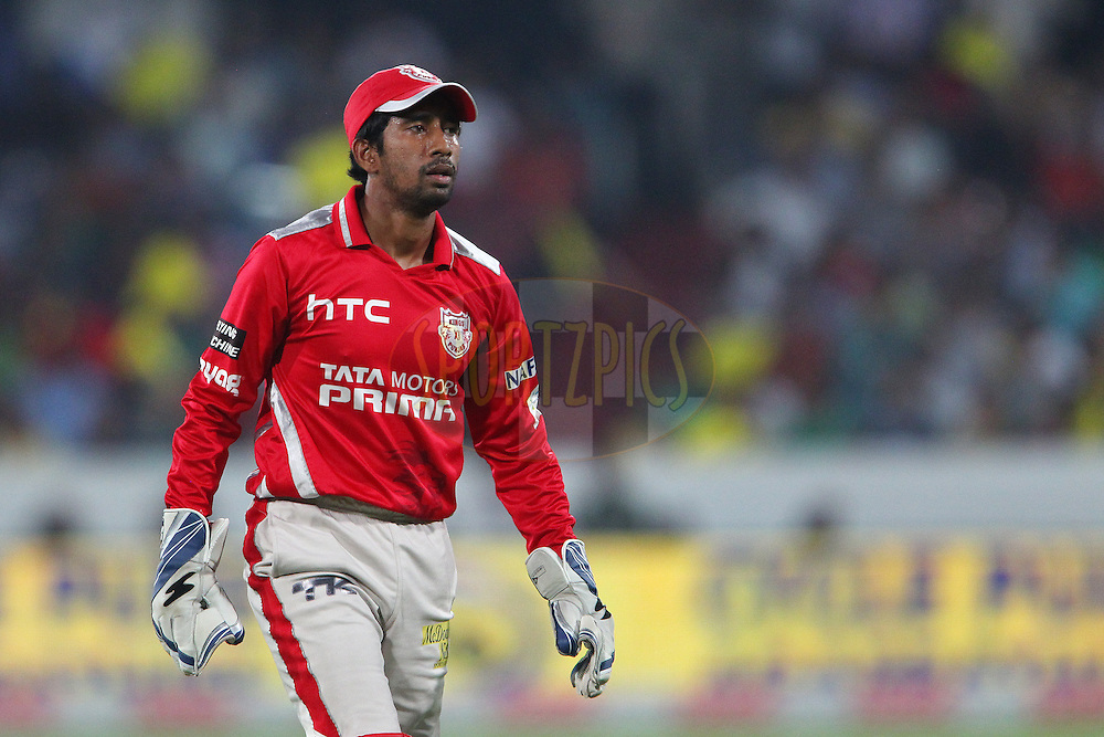 Wriddhiman SAHA of the Kings XI Punjab  during the second semi final match of the Oppo Champions League Twenty20 between the Kings XI Punjab and the Chennai Superkings held at the Rajiv Gandhi Cricket Stadium, Hyderabad, India on the 2nd October 2014<br /> <br /> Photo by:  Ron Gaunt / Sportzpics/ CLT20<br /> <br /> <br /> Image use is subject to the terms and conditions as laid out by the BCCI/ CLT20.  The terms and conditions can be downloaded here:<br /> <br /> http://sportzpics.photoshelter.com/gallery/CLT20-Image-Terms-and-Conditions-2014/G0000IfNJn535VPU/C0000QhhKadWcjYs