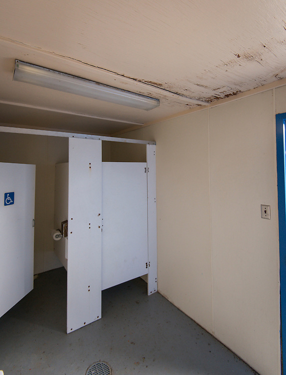 Water damage in restroom of baseball field at North Forest High School, February 23, 2015.