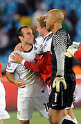 June 23, 2010; Pretoria, SOUTH AFRICA; USA midfielder Landon Donovan (10) celebrates after defeating Algeria 1-0 after Donovan scored the winning goal during Group C play in the 2010 World Cup at Loftus Versfeld Stadium.