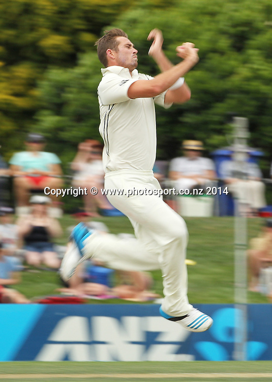 Tim Southee of the Black Caps bowling on Day 2 of the boxing Day Cricket Test Match between the Black Caps v Sri Lanka at Hagley Oval, Christchurch. 27 December 2014 Photo: Joseph Johnson / www.photosport.co.nz