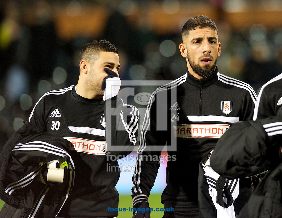 Picture by Alan Stanford/Focus Images Ltd +44 7915 056117<br /> 04/02/2014<br /> Chris David (L) and Ashkan Dejagah of Fulham before the The FA Cup match at Craven Cottage, London