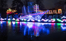 © Licensed to London News Pictures. 18/01/2017. London, UK. A boat reflected in a frozen pond at the Chiswick House Magic Lantern Festival. The Festival is a fusion of art, heritage and culture. Illuminating outdoor installations of beautifully sculpted lanterns taking various forms. Opening tomorrow and running until February 26th 2017 the theme for this year's festival is: 'Explore The Silk Road'. Visitors will discover life-sized and oversized lantern scenes, which represent and highlight this significant route of trade and culture from Europe to Ancient China.Photo credit: Peter Macdiarmid/LNP