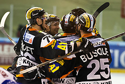 24.01.2012, Eisstadion Liebenau, Graz, AUT, EBEL, Moser Medical Graz 99ers vs EC Rekord Fenster VSV, im Bild Torjubel der 99ers, Yvan Busque, (99ers, #25), Philipe Paquet, (99ers, #79), Guillaume Lefebvre, (99ers, #14) // during the ice hockey game between Graz 99ers and EC Rekord Fenster VSV at the Eisstadion Liebenau, Graz, Austria, 2012/01/24, EXPA Pictures © 2012, PhotoCredit: EXPA/ M. Kuhnke