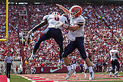FAYETTEVILLE, AR - SEPTEMBER 5:  Autrey Golden #8 and Mack Leftwich #11 of the UTEP Miners celebrate after a touchdown against the Arkansas Razorbacks at Razorback Stadium on September 5, 2015 in Fayetteville, Arkansas.  The Razorbacks defeated the Miners 48-13.  (Photo by Wesley Hitt/Getty Images) *** Local Caption *** Autrey Golden; Mack Leftwich