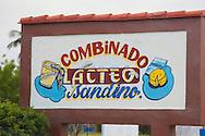 Dairy sign in Sandino, Pinar del Rio, Cuba.