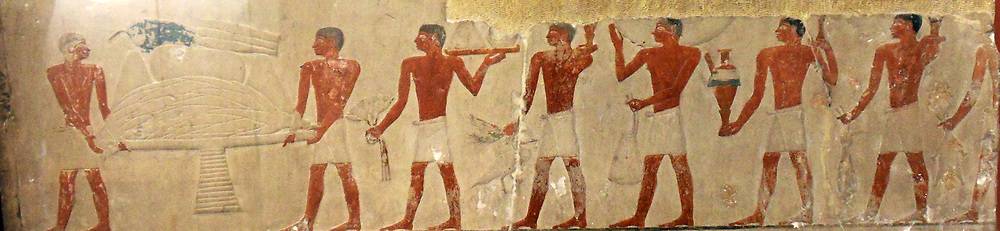 5th Dynasty Egyptian (2500-2350 BC) Servants making offerings of fruit and vegetables