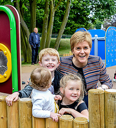 Pictured: Nicola Sturgeon meets children on one forts.<br /> <br /> First Minister Nicola Sturgeon opened Scotland's largest 'inclusive' play park at Pittencrief Park in Dunfermline.<br /> <br /> © Dave Johnston/ EEm