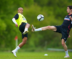CARDIFF, WALES - Wednesday, May 19, 2010: Wales' Robert Earnshaw and Brian Stock during a training session at the Vale of Glamorgan Hotel ahead of the International Friendly match against Croatia. (Pic by David Rawcliffe/Propaganda)