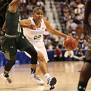 Kaleena Mosqueda-Lewis, UConn, drives past Courtney Wimmiams, USF, during the UConn Huskies Vs USF Bulls Basketball Final game at the American Athletic Conference Women's College Basketball Championships 2015 at Mohegan Sun Arena, Uncasville, Connecticut, USA. 9th March 2015. Photo Tim Clayton