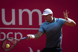 May 3, 2018 - Estoril, Portugal - Kevin Anderson from South African in action during the match between Kevin Anderson and Stefanos Tsitsipas for Millennium Estoril Open 2018 at Clube de Tenis do Estoril on May 03, 2018 in Estoril, Portugal. (Credit Image: © Carlos Costa/NurPhoto via ZUMA Press)