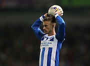 Joe Bennett, Brighton defender during the Sky Bet Championship match between Brighton and Hove Albion and Bournemouth at the American Express Community Stadium, Brighton and Hove, England on 10 April 2015.
