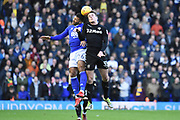 Leeds United midfielder Conor Shaughnessy (35) challenges Birmingham City midfielder David Davis (26) for a header 0-0 during the EFL Sky Bet Championship match between Birmingham City and Leeds United at St Andrews, Birmingham, England on 30 December 2017. Photo by Alan Franklin.
