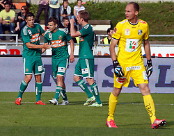 31.05.2015, Stadion Wolfsberg, Wolfsberg, AUT, 1. FBL, RZ Pellets WAC vs SK Rapid Wien, 35. Runde, im Bild v.l. den Jubel von Stefan Schwab (SK Rapid Wien), Louis Schaub (SK Rapid Wien) und Robert Beric (SK Rapid Wien) // during the Austrian Football Bundesliga 35th Round match between RZ Pellets WAC and SK Rapid Vienna at the Stadium Wolfsberg in Wolfsberg Austria on 2015/05/31, EXPA Pictures © 2015, PhotoCredit: EXPA/ Wolfgang Jannach